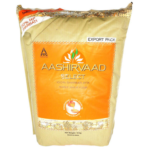 Aashirvaad Select 100% Sharbati Atta (Whole Wheat Flour) 10 kg - Sabadda - Indian Online Grocery Store in UK