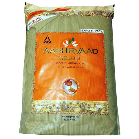 Aashirvaad Select 100% Sharbati Atta (Whole Wheat Flour) 5 kg - Sabadda - Indian Online Grocery Store in UK