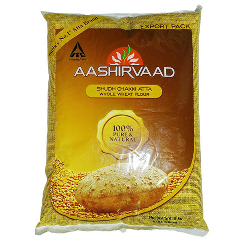 Aashirvaad Shudh Chakki Atta (Whole Wheat Flour) 5 kg - Sabadda - Indian Online Grocery Store in UK