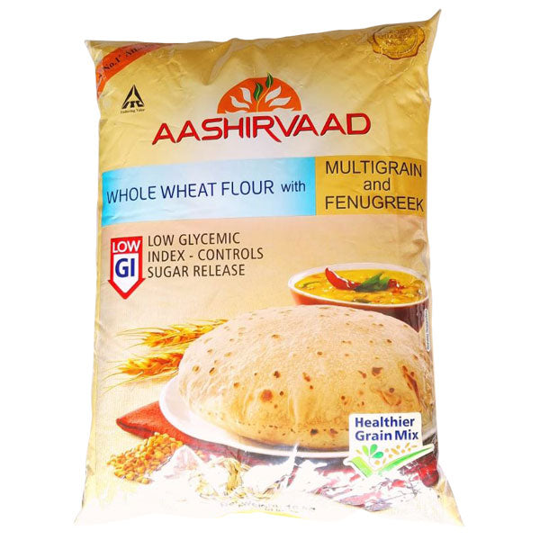 Aashirvaad Whole Wheat Flour with Multigrain and Fenugreek Low GI 10 kg - Sabadda - Indian Online Grocery Store in UK