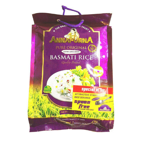 Annapurna Pure Original Extra Long Grain Basmati Rice 5 kg - Sabadda - Indian Online Grocery Store in UK