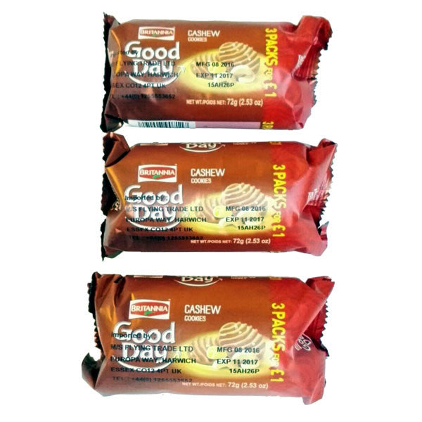 Britannia Good Day Cashew Cookies 72 gm ( 3 Packs for £1 ) - Sabadda - Indian Online Grocery Store in UK