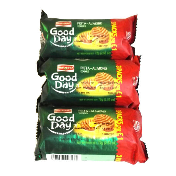 Britannia Good Day Pista Almond Cookies 72 gm ( 3 Packs for £1 ) - Sabadda - Indian Online Grocery Store in UK