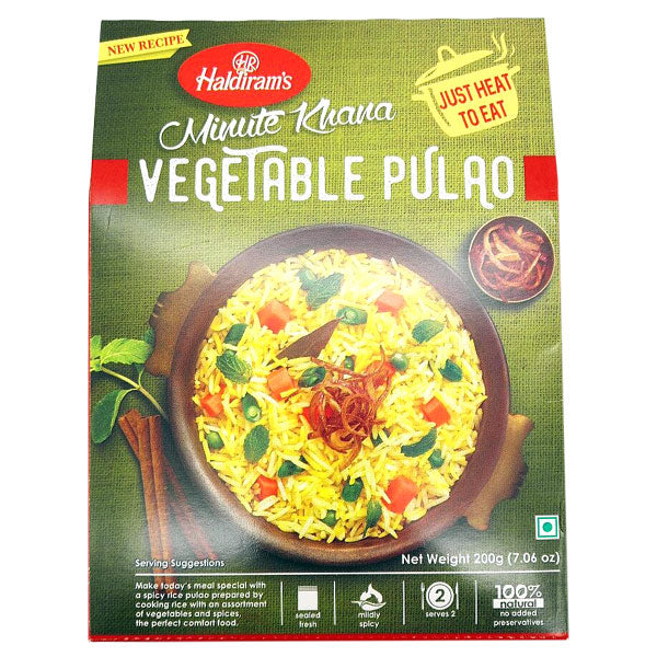 Haldiram's Minute Khana Vegetable Pulao 200 gm - Sabadda - Indian Online Grocery Store in UK