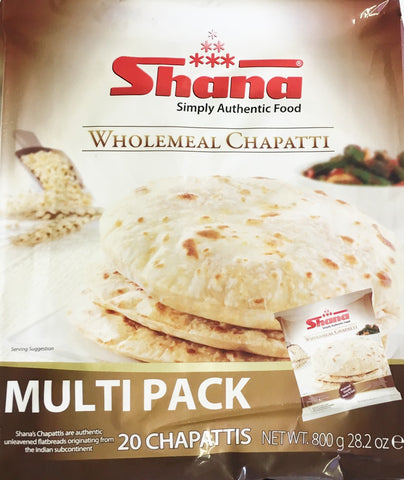 Shana Wholemeal Chappatti Multi Pack 800 gm (20 Chapattis) - Sabadda - Indian Online Grocery Store in UK