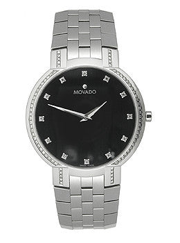 Movado Faceto 86 Diamonds Black Dial Mens watch #606237