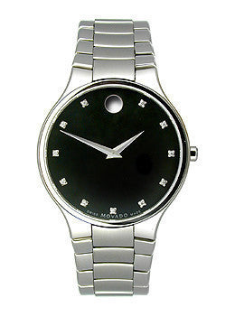 Movado Serio Stainless Steel with Diamond Markers Mens watch #606490
