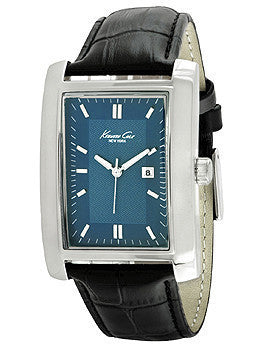 Kenneth Cole New York Three-Hand Black Leather Strap Mens watch #10019743