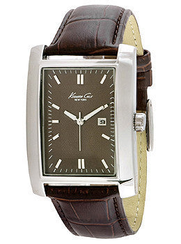 Kenneth Cole New York Three-Hand Brown Leather Strap Mens watch #10019745