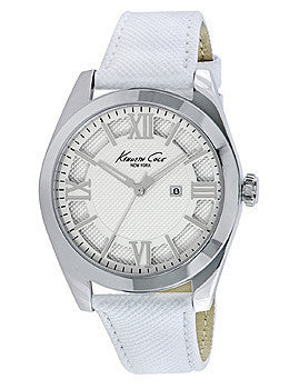 Kenneth Cole New York Three-Hand White Leather Strap Womens watch #10021282