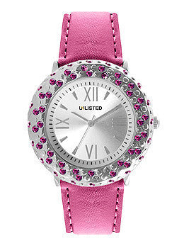 Unlisted Three-Hand Pink Polyurethane Leather Strap Womens watch #10022837