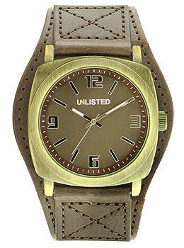 Unlisted Three-Hand Brown Polyurethane Leather Strap Mens watch #10024500