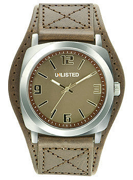 Unlisted Three-Hand Brown Polyurethane Leather Strap Mens watch #10024800