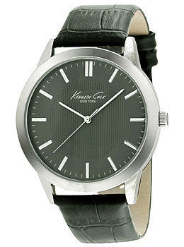 Kenneth Cole New York Three-Hand Black Leather Strap Mens watch #10024815