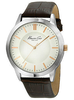 Kenneth Cole New York Three-Hand Brown Leather Strap Mens watch #10024818
