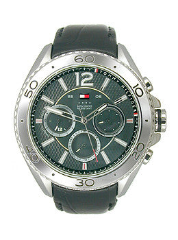 Tommy Hilfiger Multifunction Silver and Black Leather Mens watch #1791029