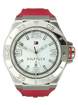 Tommy Hilfiger Three-Hand Red Silicone Mens watch #1791037
