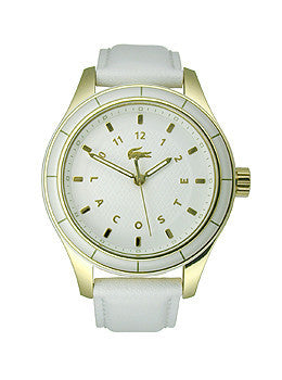 Lacoste Sydney Three-Hand Gold-Tone and White Leather Womens watch #2000742