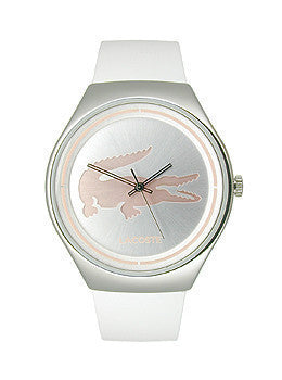 Lacoste Valencia Three-Hand Silver and White Leather Womens watch #2000838