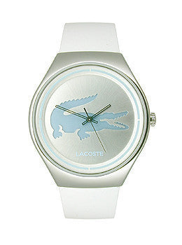 Lacoste Valencia Three-Hand Silver and White Leather Womens watch #2000839