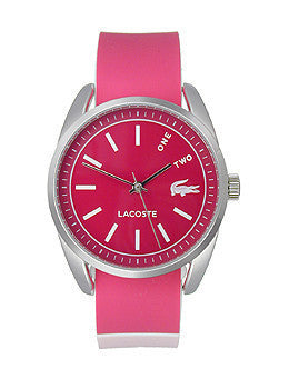 Lacoste Malaga Three-Hand Pink Silicone Strap Womens watch #2000890