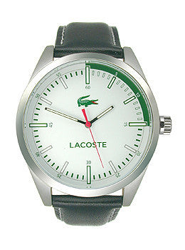 Lacoste Montreal Three-Hand Silver and Black Leather Mens watch #2010732