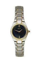 Seiko Two-Tone Bracelet Black Dial Womens Watch #SUJE34