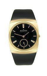 Skagen Steel Gold-tone Crystal 2-Hand Black Dial Womens Watch #511SGLB