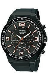 Pulsar by Seiko Chronograph Black Polyurethane Mens Watch #PT3403