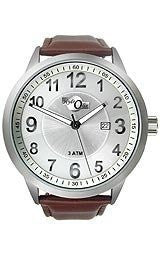HydrOlix Three-Hand Brown Leather/Silver Dial Mens watch #XA00216