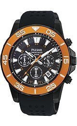 Pulsar by Seiko Chronograph Black Silicone Mens watch #PT3147