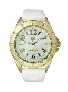 Tommy Hilfiger Three-Hand Gold and White Silicone Womens watch #1781321