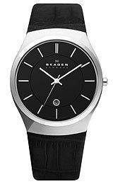 Skagen Black Leather & Steel Mens watch #925XLSLB