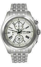 Seiko Alarm Chronograph White Dial Mens watch #SNAE29P1
