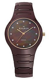 Skagen Ceramic Brown MOP Mother-of-pearl Dial Womens watch #817SDXCR