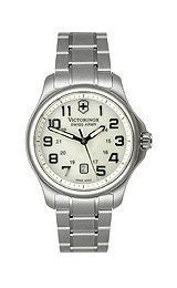 Victorinox Swiss Army Officers Steel Bracelet White Mother-of-Pearl Dial Womens Watch #241365