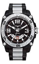 Jorg Gray Solid Stainless Steel Bracelet Black Dial Mens watch #JG9800-23