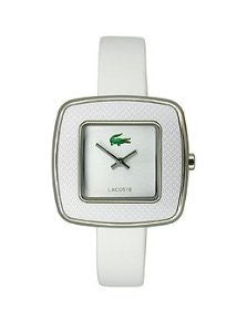 Lacoste Manila Two-Hand Silver and White Leather Womens watfch #2000748