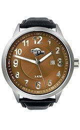 HydrOlix 3-Hand Black Leather/Brown Dial Unisex watch #XA00225