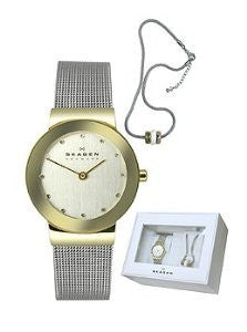 Skagen Klassik Two-Hand Steel Mesh Womens watch and Necklace set #SKW1054