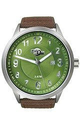 HydrOlix Three-Hand Brown Web Fabric/Green Dial Mens watch #XA00214