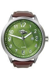 HydrOlix Three-Hand Brown Leather/Green Dial Mens watch #XA00219