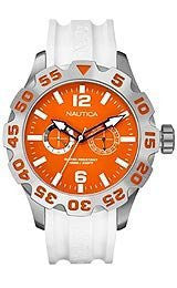 Nautica BFD 100 Multi White Resin Strap Mens watch #N16618G