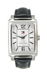 Tommy Hilfiger Black Leather 3-Hand Silver Dial Mens Watch #1710190