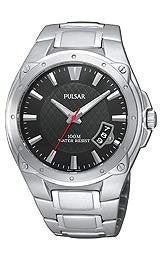 Pulsar Bracelet Collection Stainless Steel Black Dial Mens watch #PXH823
