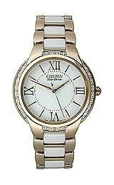 Citizen Eco-Drive Ciena Stainless Steel and Ceramic Womens watch #EM0173-51A