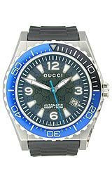 Gucci Pantheon Blue Automatic Diver Black Dial Mens Watch #YA115224