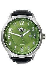 HydrOlix 3-Hand Black Leather/Green Dial Unisex watch #XA00224