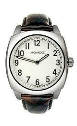 Movado Circa Stainless Steel with Brown Strap Mens watch #606587