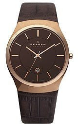 Skagen Rose-Gold Tone & Leather Mens watch #925XLRLD